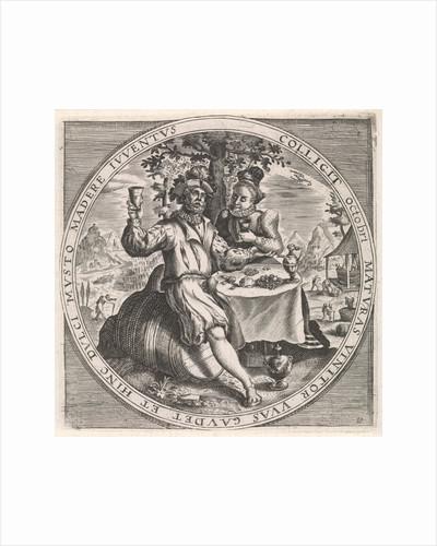 October: couple drinking wine by Maerten de Vos
