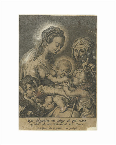 Mary with Child and John the Baptist as a child with Anna by Schelte Adamsz. Bolswert