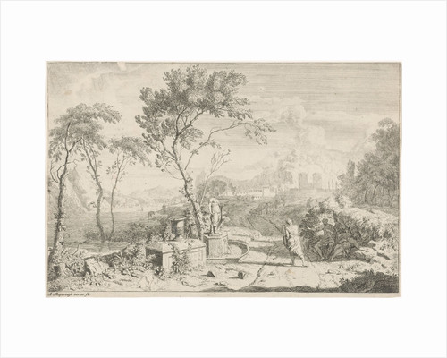 Landscape with a statue by Albert Meyeringh