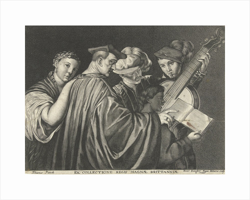 Three men, woman and boy singing and playing musical instruments by Hendrick Danckerts