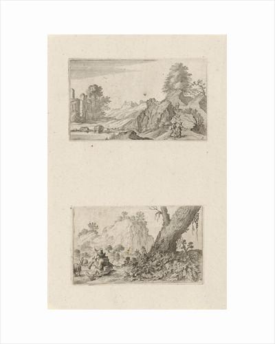 Hikers in a hilly landscape and shepherd boy by Gillis van Scheyndel I