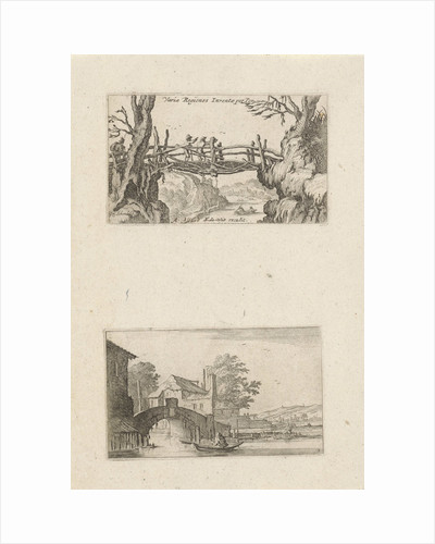 Three hikers on a wooden bridge and rowing boat before a stone bridge by Frederik de Wit