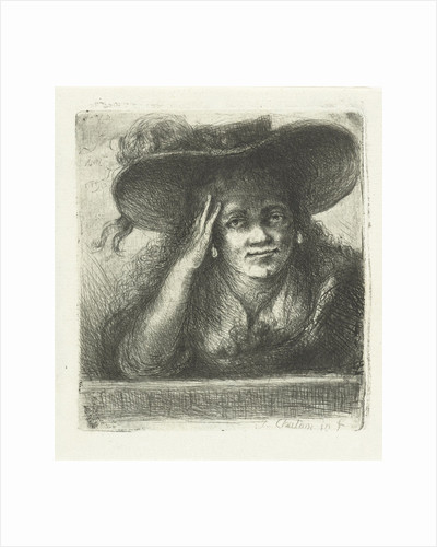 Woman with big round hat by Jan Chalon
