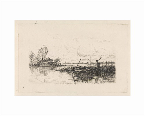 Landscape with a man in a rowboat by Elias Stark