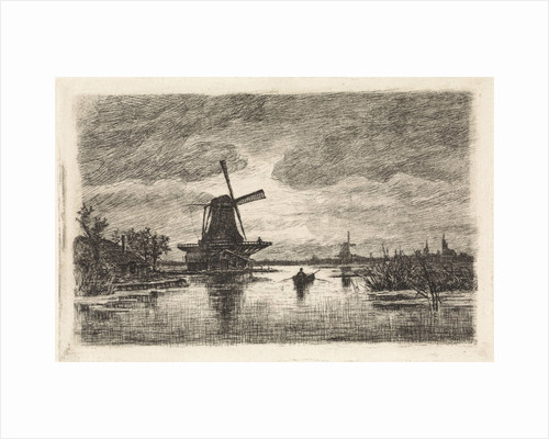 Landscape with two mills and a rowboat by Elias Stark