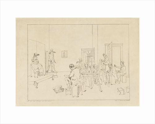 Drawing class, Daniël Batavus Voorman by Adrianus Gerardus van Schoone