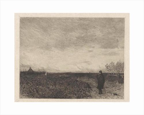 Flat landscape with a man with walking stick by Willem Steelink II