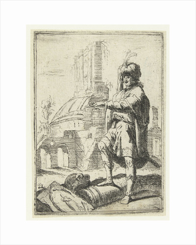 Self Portrait with Oriental dress standing in front of ruins by Bartholomeus Breenbergh