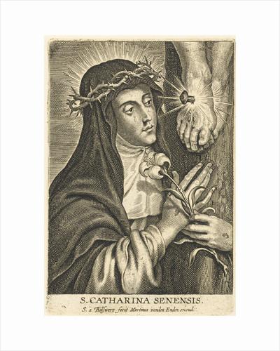 Saint Catherine of Siena with stigmata at crucifix by Martinus van den Enden