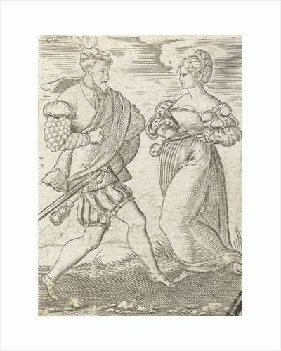 Dancing couple, the woman with hands on her hips by Anonymous