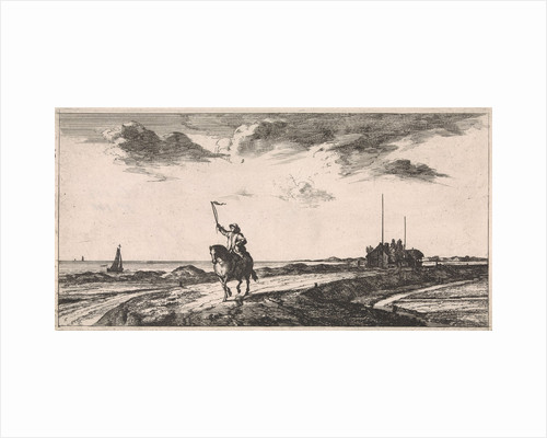 Postman riding along the beach by Jan Houwens I