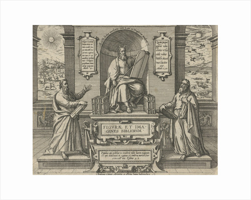 Moses with the law in the company of two prophets by Johann Bussemacher