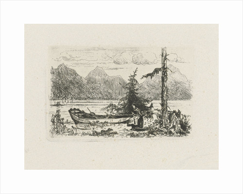 Mountain landscape with a moored boat by Joseph Hartogensis
