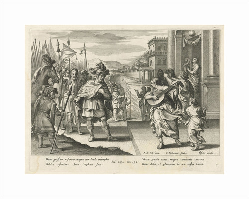 Jephthah is welcomed by his daughter, Nicolaes Ryckmans by Claes Jansz. Visscher II
