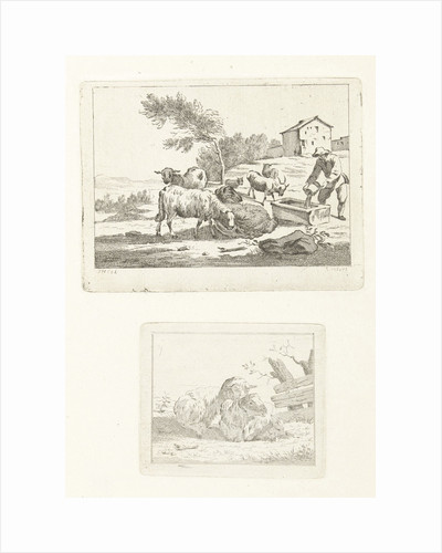 Two scenes with sheep and shepherd by Jan Matthias Cok
