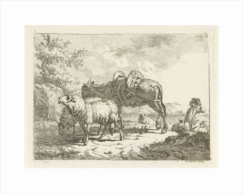Shepherd with sheep and a donkey by Frédéric Théodore Faber
