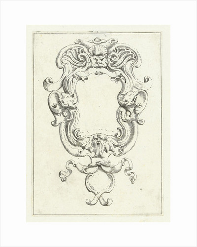 Cartouche with two masks by Anonymous