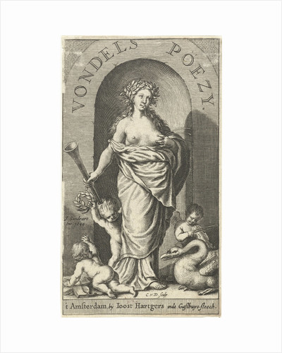 Muse Clio with trumpet and squirting milk from her breast, swan and putti at her feet by Joost Hartgers