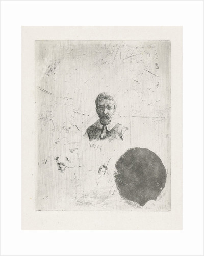 Study Sheet with the bust of a man by Christiaan Wilhelmus Moorrees
