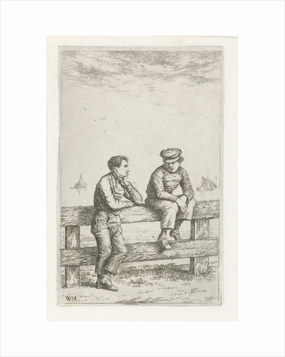 Two boys on a fence by Christiaan Wilhelmus Moorrees