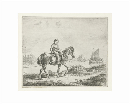 Boy on a hunt horse by Christiaan Wilhelmus Moorrees