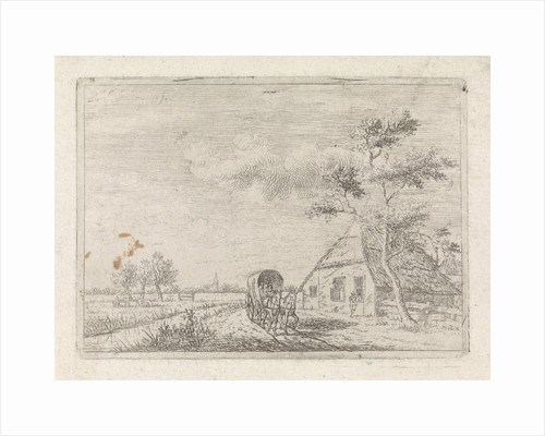 Landscape with farm and cart by Johannes Christiaan Janson