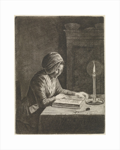 Dark room with woman reading by Johannes Christiaan Janson