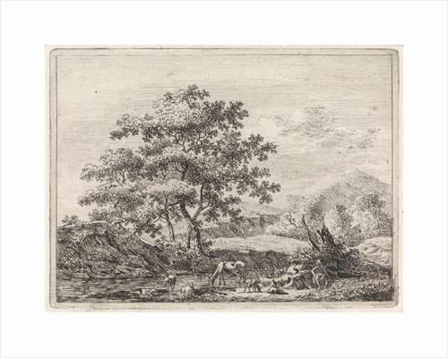 Shepherd with cattle in river by Johannes Christiaan Janson