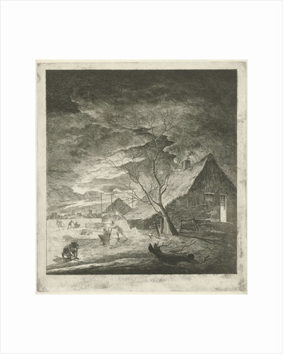 Night Landscape with farm and skaters by Johannes Janson