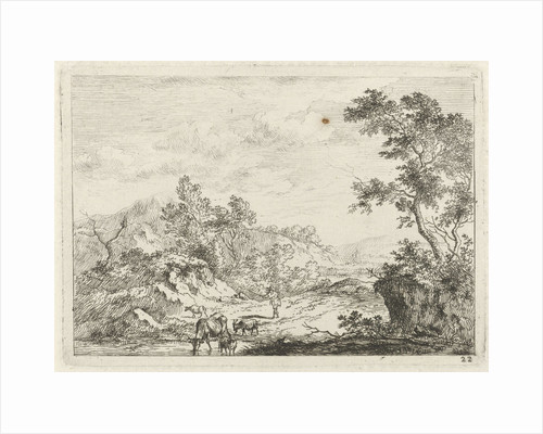 Landscape with shepherd and cattle by brook by Johannes Janson