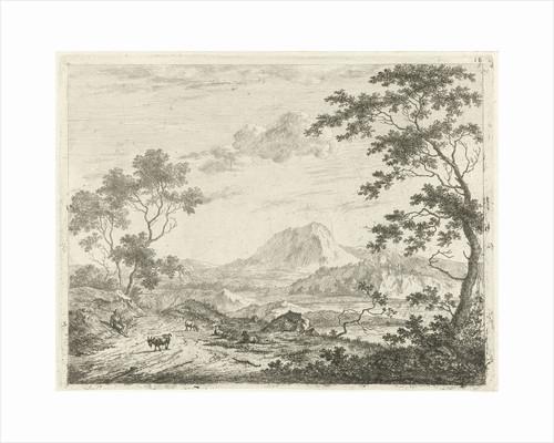 Mountainous landscape with resting shepherd by Johannes Janson