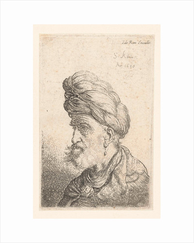 Bust of a man with turban by Salomon Koninck