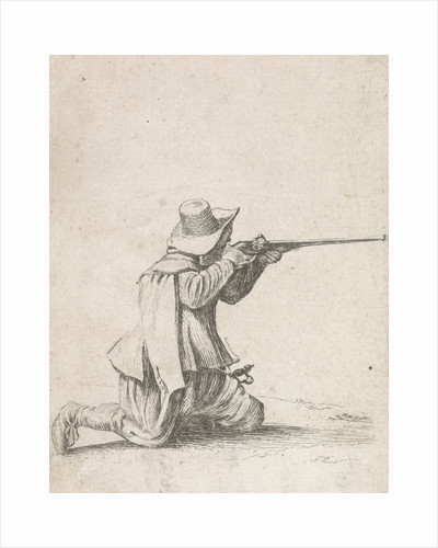 Kneeled soldier, his rifle berthing by Philips Wouwerman