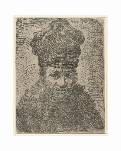 Bust of a man with a Polish hat by Rembrandt Harmensz. van Rijn