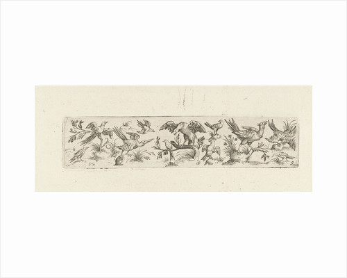 Frieze with eleven birds, in the middle is a large bird on a branch by Marcus Geeraerts