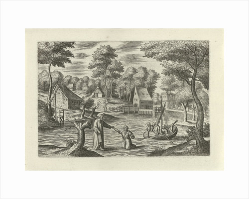 Landscape with Christ walking on the water by J. Janssonius