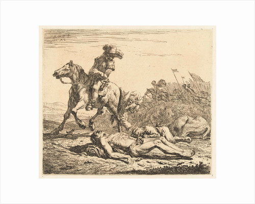 Battlefield soldier on horseback and two deaths by Karel Dujardin