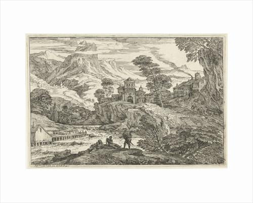 Landscape with three people at riverside by Adriaen van der Kabel