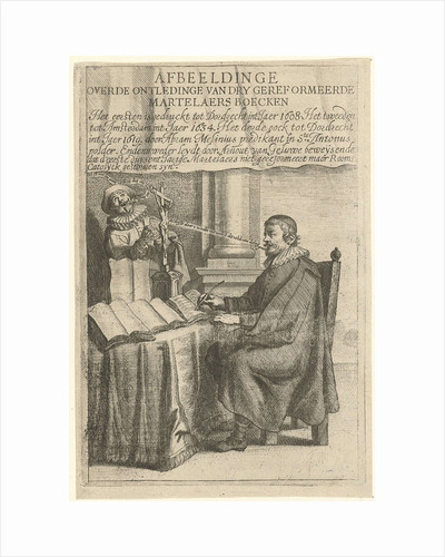 Portrait of Arnout van Geluwe, writing by Theodor Matham