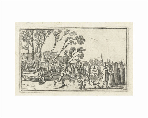 Skaters on the ice at a farm by Johannes Pietersz. Berendrecht
