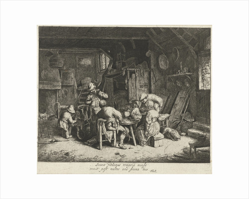 Farmers to a meal at an inn by Adriaen van Ostade