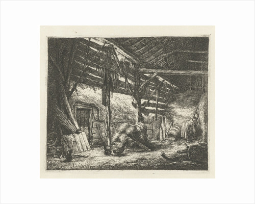 Interior of a barn by Adriaen van Ostade