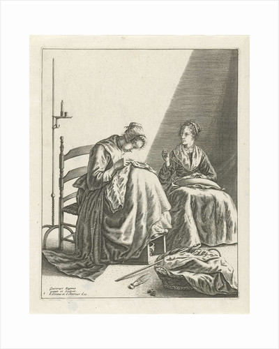 Two sewing women by Johannes Covens and Cornelis Mortier