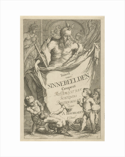 The Death personified holding a cloth on which the series title in ten lines in Dutch by Arnold Houbraken