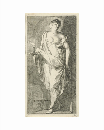 A female figure as the personification of obsequiousness in a niche, with her right hand in a candle holder with a burning candle by Arnold Houbraken