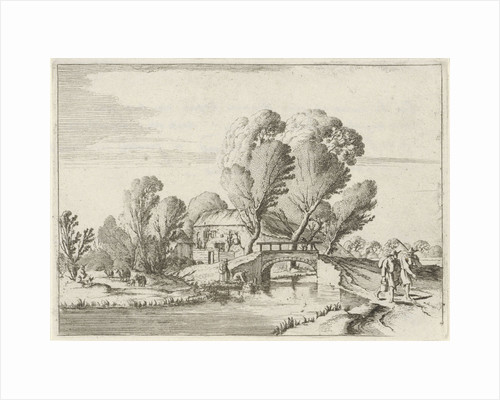 In a wooded landscape two hikers walking on a path along a canal by Gillis van Scheyndel I
