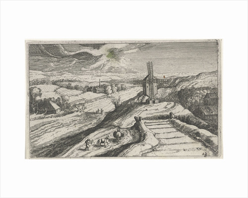 Hill landscape with a windmill by Anonymous