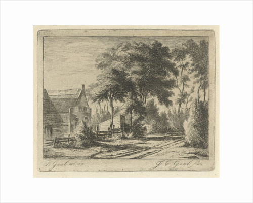Country road at a farm by Jacobus Cornelis Gaal