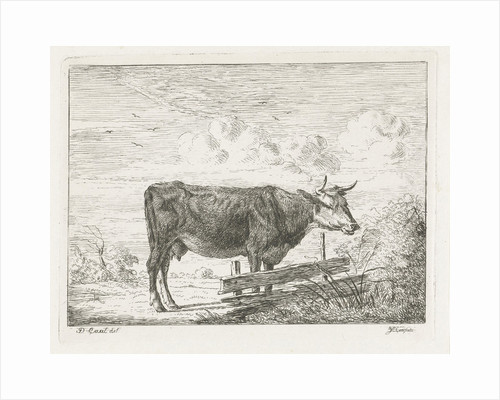 Cow standing by a fence by Jacobus Cornelis Gaal
