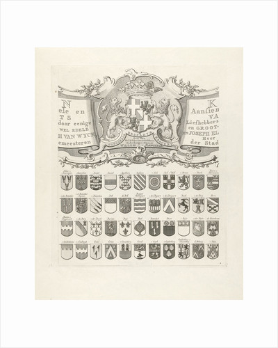 Top center leaf of a set of nine prints, all with weapons of ancient lineages from Utrecht by Johannes van Hiltrop